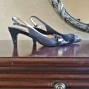 Cole Haan slingback open toe heels with buckle.